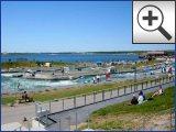 FOTO: Markkleeberger See bei Leipzig - Auenhainer Strand, Strandbad Markkleeberg-Ost und der Wachauer Strand - Kanupark mit Wildwasser Anlage