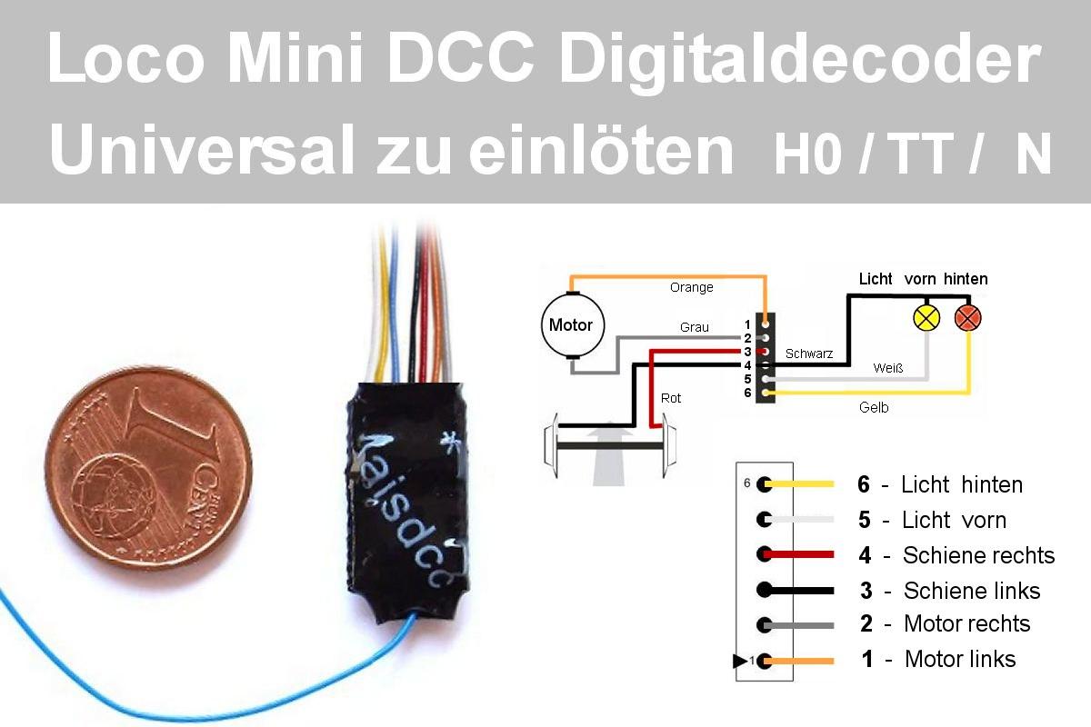 Lokdecoder Bersicht Bei Hobby Modellbahn Von Lenz Dcc Wiring Diagrams Mini Lok Decoder Universal H0 Tt N